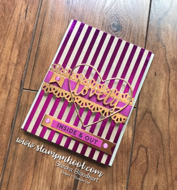 Stampin' Up! Lovely Inside and Out Bundle with Copper Foil Sheets and Foil Frenzy Specialty Designer Series Paper in Berry Burst Foil. #shine #stampinup #stampinhoot #bundleandsave #handmadecards #papercrafts