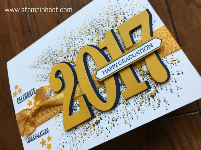 Stampin' Up! Large Numbers Framelits Dies are Perfect for a Quick Graduation Card of any Color! Stampin' Hoot! Stesha Bloodhart #stampinup #stampinhoot