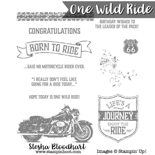 Stampin' Up! Item # 141724 One Wild Ride Stamp Set, Motorcycle, Life's a Journey, Born to Ride, Congratulations #stamps #stampinup