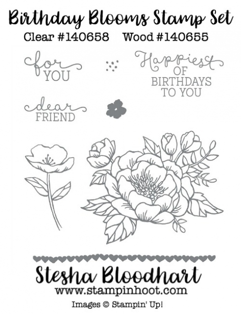 Stampin' Up! Birthday Blooms Stamp Set Clear 140658, Wood 140655 Available to Purchase Online from Stesha Bloodhart, Stampin' Hoot! #birthdayblooms #flowers #peonies #stampinup #cardmaking #orderonline