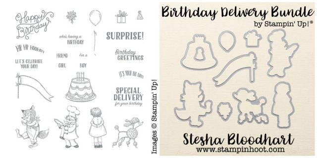 Birthday Delivery Photopolymer Bundle by Stampin' Up! Shop online at Stampin' Hoot! Stesha Bloodhart #birthdaydelivery #birthdayfriendsframelits #dies #stamps #clearstamps #cardmaking #birthday #birthdaycards #handmadecards #demonstrator #stampinhoot #steshabloodhart