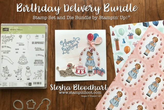 Birthday Delivery Photopolymer Bundle by Stampin' Up! Birthday Delivery Stamp Set and Birthday Friends Framelits Dies Paired with Birthday Memories Designer Series Paper make for Quick and Easy Cards with a nostalgic feel! Created by Stesha Bloodhart at Stampin' Hoot! #stampinup #stampinupcards #stampinupdemonstrator #cards #papercrafts, #rubberstamps #handmadecards #cardstock #handstamped #diy #cardmaking #imadethis #crafty #directsales #stesha #watercolor #coloring #stampsinksdies @stampinup