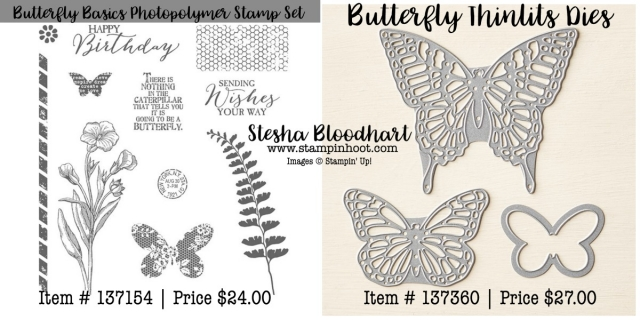 Butterfly Basics Photoplymer Stamp Set and Coordinating Butterfly Thinlits Dies by Stampin' Up! Purchase Online at Stampin' Hoot! Stesha Bloodhart #butterflybasics #butterfly #thinlits #dies #stampinup #stampinhoot #flowers #birthdaycards #cardmaking #handmade #imadethis #demonstrator