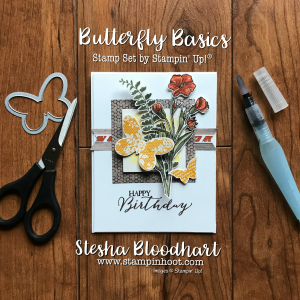 Butterfly Basics Stamp Set by Stampin' Up! for CAS(E) this Sketch Challenge #231 created by Stesha Bloodhart, Stampin' Hoot! Details and Daily Inspiration on My Blog! #stampinup #stampinupcards #stampinupdemonstrator #cards #papercrafts #rubberstamps #handmadecards #cardstock #handstamped #diy #cardmaking #imadethis #crafty #directsales #stesha #watercolor #coloring #stampsinksdies #stampinhoot #steshabloodhart #bigshot #framelits #thinlits @stampinup