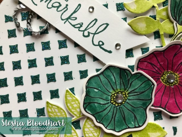 Stampin' Up! Oh So Eclectic Bundle , Embossing Paste, Dazzling Diamonds, 2017-2019 In-Colors, Rhinestones at Stampin' Hoot! Stesha Bloodhart for the Remarkable InkBig Blog Hop July #bloghop #stampinup #ohsoeclectic #stampinhoot #papercrafts #cards