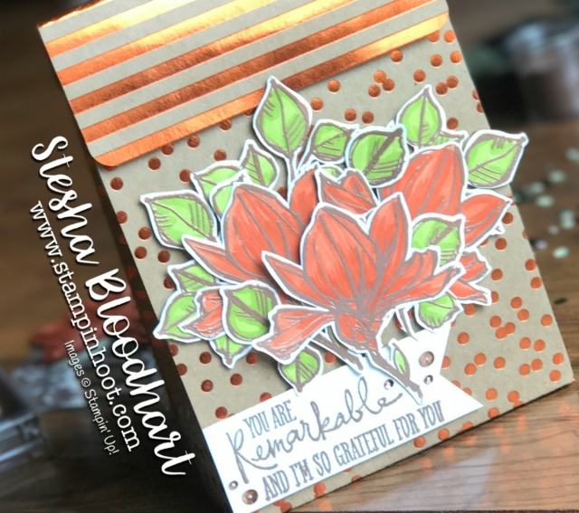 Remarkable You Stamp Set by Stampin' Up, Copper Embossed Flowers Colored with Lemon-Lime Twist and Tangerine Tango Stampin' Write Markers Fussy Cut with Paper Snips and Adhered to a Gift Bag Made from Foil Frenzy 12x12 Specialty Designer Series Paper #stampinup #giftbag #foil #remarkable #stamps #papersnips #embossing #tangerinetango #lemon-limetwist #heattool #dimensionals #stripes #dots #bags #12x12 #DSP #specialtydesignerseriespaper #foilfrenzy