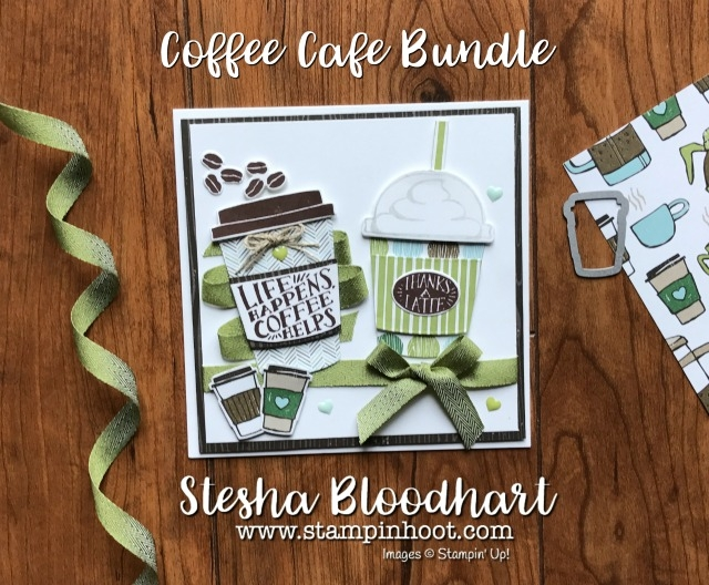 Coffee Break Suite by Stampin' Up! Coffee Cafe Stamp Set, Coffee Cups Framelits Dies and Coffee Break Designer Series Paper at Stampin' Hoot! for the Pals July 2017 Blog Hop #coffee #cards #papercrafts #bloghop #pals #stampinup #latte #dies