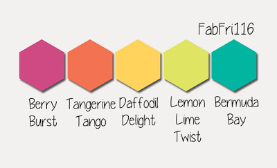 Fab Friday 116 Color Challenge Stampin' Up! Berry Burst, Tangerine Tango, Daffodil Delight, Lemon-Lime Twist and Bermuda Bay at Stampin' Hoot! Stesha Bloodhart