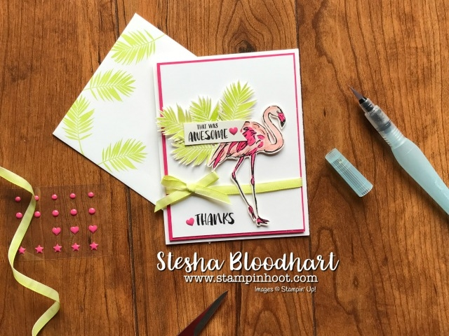 Fabulous Flamingo Stamp Set from Stampin' Up! Makes a great Thank You Card Thailand Style at Stampin' Hoot! Stesha Bloodhart for Kylie Bertucci's International Blog Highlights #stampinup #flamingo #fabulousflamingo #handmade #cards #steshabloodhart #stampinhoot