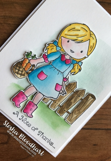 Garden Girl Stamp Set by Stampin' Up! Watercolored with Aqua Painters by Stesha Bloodhart at Stampin' Hoot! #gardengirl #stampinup #girl #fence #bird #bunny #butterfly #flowers #aquapainter #fussycut #papersnips #pacificpoint #classicink #cards #handmadecards #papercrafts #ink #clearblocks #thankyou #stesha #stampinhoot