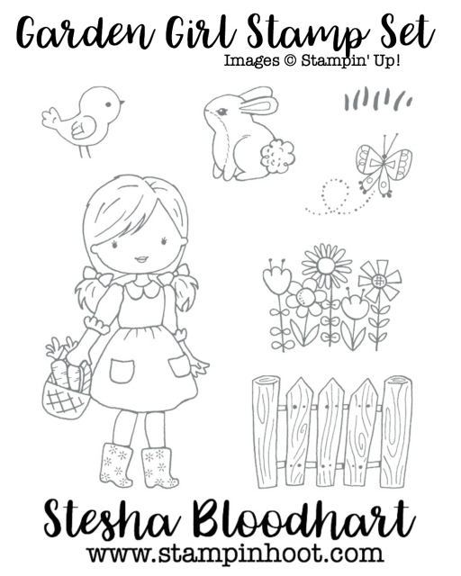 Garden Girl Stamp Set by Stampin' Up! 143952 Clear-Mount Great for Any Coloring Technique #stampinup #coloring #aquapainter #watercolor #gardengirl #fence #bird #bunny #flowers #butterfly #grass