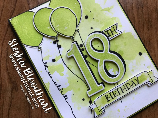 Stampin' Up! Number of Years Photopolymer Stamp Set, Large Numbers Framelits Dies, Balloon Celebrations Stamp Set and Balloon Bouquet Punch, 18th Birthday Card with Lemon-Lime Twist and Basic Black created by Stesha Bloodhart, Stampin' Hoot! #stampinup #steshabloodhart #stampinhoot #birthdaycard #handmade #papercrafts