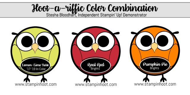 Hoot-A-Riffic Color Combination Lemon-Lime Twist, Real Red and Pumpkin Pie #color #stampinup #hootariffic #colorcombinations #brightsfamily #stampinhoot #steshabloodhart