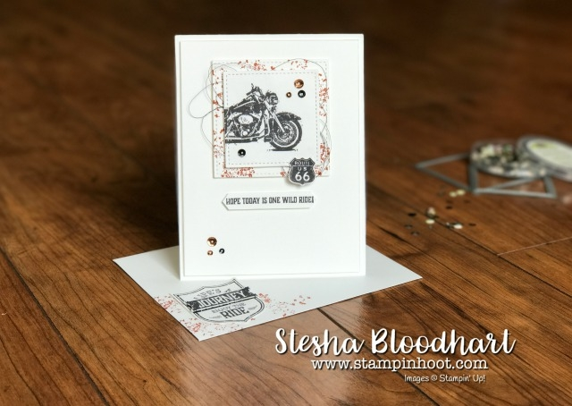 Stampin' Up! One Wild Ride Stamp Set, Motorcycle and Route 66 for Global Design Project Challenge 096 by Stesha Bloodhart at Stampin' Hoot! #stampinup #cards #stamps #ink #dies #bigshot #handmade #steshabloodhart #stampinhoot #blackandwhite #stitchedshapes #framelits #metallicthread #dimensionals