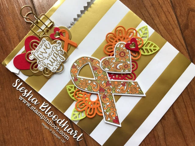 Ribbon of Courage Bundle by Stampin' Up! for 3-D Thursday Striped Treat Gift Bag at Stampin' Hoot! Stesha Bloodhart #stampinup #giftbags #handmade #dies #stamps #ribbon #cancer #courage #ribbonofcourage #flowers #hearts #imadethis #demonstrator #papercrafts #rubberstamps #stampsinksdies #stampinhoot #steshabloodhart #bigshot #framelits #thinlits @stampinup
