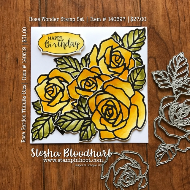 Rose Wonder Photopolymer Stamp Set and Rose Garden Thinlits Dies Retiring May 31st 2018 or While Supplies Last.