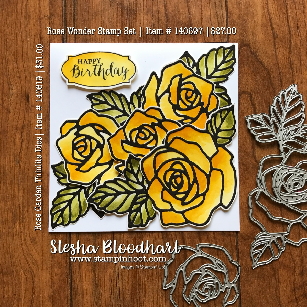 Rose Wonder Photopolymer Stamp Set and Coordinating Rose Garden Thinlits Dies by Stampin' Up! are beautifully colored with Shimmery White Cardstock, Old Olive and Crushed Curry Ink and an Aqua Painter! See detail at Stampin' Hoot! Stesha Bloodhart, Independent Stampin' Up! Demonstrator who loves to fussy cut and watercolor! #rosewonder #watercolor #diecut #crushedcurry #stampinup #stampinupcards #stampinupdemonstrator #cards #papercrafts #rubberstamps #handmadecards #cardstock #handstamped #diy #cardmaking #imadethis #crafty #directsales #stesha #watercolor #coloring #stampsinksdies #stampinhoot #steshabloodhart #bigshot #framelits #thinlits @stampinup