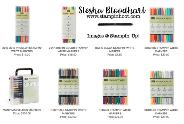 Stampin' Write Markers by Stampin' Up! Available by Color Family and Many Marvelous Marker Tote at Stampin' Hoot! Stesha Bloodhart #markers #stampinup #stamps #neutrals #incolor #brights #regals #subtles #steshabloodhart #papercrafts #coloring #stamping