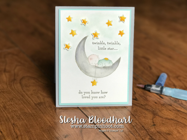 Moon Baby Stamp Set by Stampin' Up! Twinkle Twinkle Little Start Watercolor Boy Handmade Card at Stampin' Hoot! by Stesha Bloodhart for Global Design Project 095 Theme Challenge - Kids #GDP095 #baby #cards #stampinup #handmade #watercolor