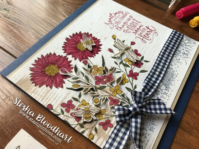 Stampin' Up! Touches of Texture Stamp Set for #TTTC006 Square Card with Night of Navy Gingham Ribbon and Layering Love Sentiment #stampinup #stamps #inks #dies #papersnips #ginghamribbon #layeringlove #touchesoftexture #handmade #stampinhoot #tictaxtoechallenge #bees #flowers #dragonfly #woodgrain #dsp #layers #coloring #honey #plaid #woodgrain