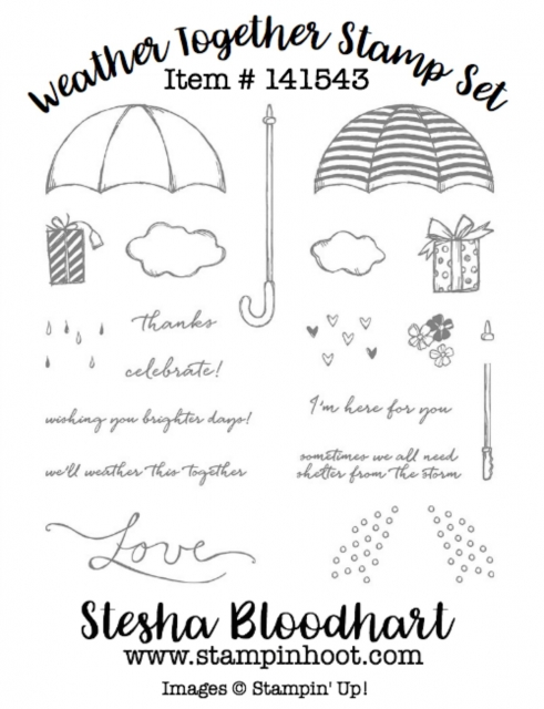 Weather Together Photopolymer Stamp Set by Stampin' Up! Item # 141543 Buy Online from Stesha Bloodhart, at Stampin' Hoot! Independent Stampin' Up Demonstrator #stampinup #stampinupcards #stampinupdemonstrator #cards #papercrafts, #rubberstamps #handmadecards #cardstock #handstamped #diy #cardmaking #imadethis #crafty #directsales #stesha #watercolor #coloring #stampsinksdies @stampinup