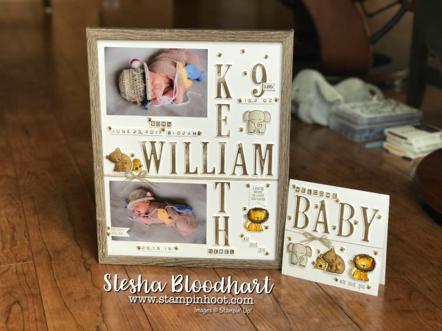 Stampin' Up! A Little Wild Bundle Welcome Baby Card for Kylie Bertucci's International Blog Highlights. Large Letters Framelits Dies and Letters for You Stamp Set, Find Info at Stampin' Hoot! Stesha Bloodhart #alittlewild #babycard #kylie #stesha #papercrafts