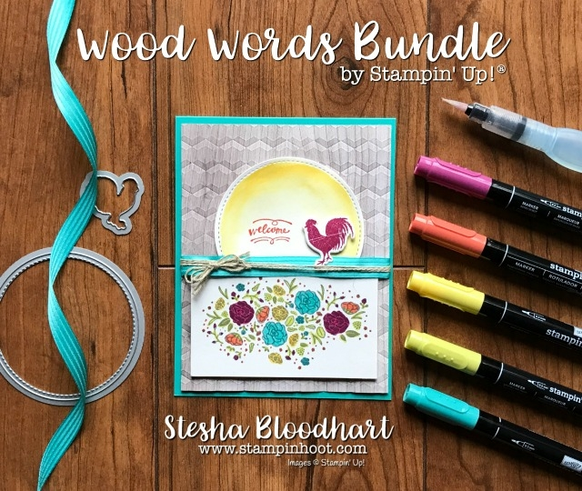 Stampin' Up Wood Words Bundle and Wood Textures Suite for Fab Friday 116 Color Challenge. Card created by Stesha Bloodhart at Stampin' Hoot! #fabfriday116 #woodwords #woodtextures #card #papercraft #rooster #sun #handmade #stampinup #steshabloodhart #stamps #ink #dies #markers #coloring #ribbon #linenthread