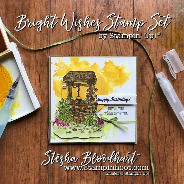 Bright Wishes Stamp Set by Stampin' Up! for CAS(E) this Sketch Challenge #234 Details at Stampin' Hoot! Stesha Bloodhart #cts234 #stampinup #watercolor #wishingwell #birthdaycard #cardmaking #handmadecards #happybirthday #sunset #demonstrator