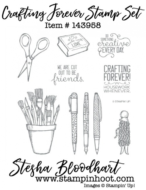 Crafting Forever Stamp Set by Stampin' Up! Item 143958 Buy Online at Stampin' Hoot! Stesha Bloodhart #stampinup #rubberstamps #crafting #papercrafting #brushes #pens #bakerstwine #scissors