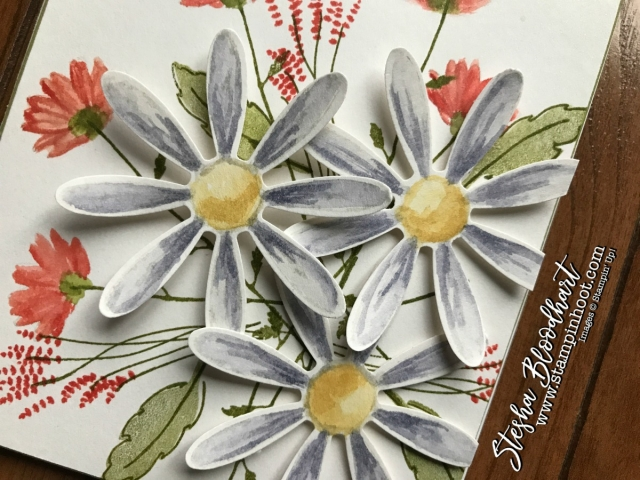 Daisy Delight Bundle by Stampin' Up! Used to Create an Easel Desktop Calendar with Drawer for 3-D Thursday Feature at Stampin' Hoot! by Stesha Bloodhart #daisydelight #desktopcalendar #papercrafts #delightfuldaisy #cardmaking #watercolor #wisteriawonder #demonstrator #stampinup #stampinhoot