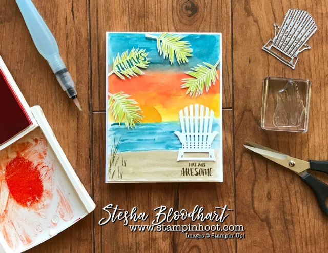 A Watercolor Beach Scene and Adirondack Chair from Seasonal Layers Thinlits Dies by Stampin' Up for Kylie's Top Ten July Winners Blog Hop. See details at Stampin' Hoot! Stesha Bloodhart #bloghop #adirondack #beach #watercolor #cards #thankyou #gratitude #stampinup #kyliebertucci #steshabloodhart