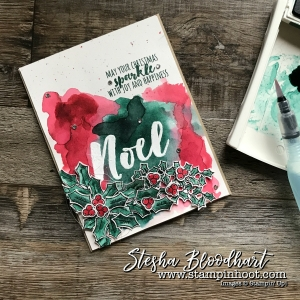 Holly Berry Happiness Stamp Set by Stampin' Up! with Watercolor a Happy Noel for Global Design Project Happy 100th Case the Designer #GDP100 #watercolor #christmascard #greetingcard #cardmaking #hollyberryhappiness #stampinup #stampinhoot