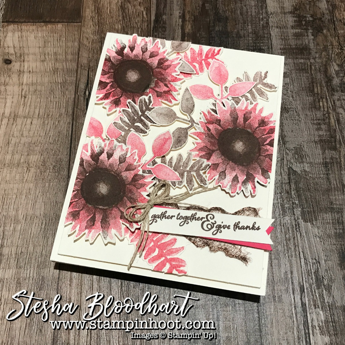 Painted Harvest Bundle by Stampin' Up! Sneak Peek of Thank You Cards designs by Stesha Bloodhart, Stampin' Hoot! #paintedharvest #thankyoucards #handmadecards #cardmaking #stampinup #sunflowers #stampinhoot #demonstrator
