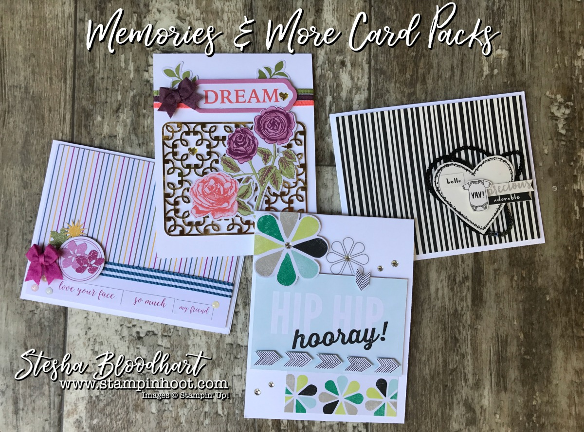 Memories & More Card Packs by Stampin' Up! Make for Quick & Easy Cards-on-the-Go! No Stamps Necessary! See details on my blog! Stampin' Hoot! Stesha Bloodhart #memories&more #stampinup #stampinhoot #quickcards #papercrafts #scrapbooking #cardmaking #handmadecrafts #ididthis #demonstrator