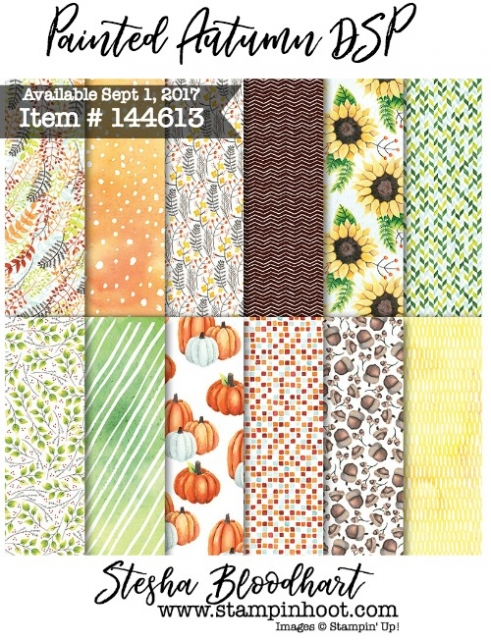 Painted Autumn Designer Series Paper by Stampin' Up! Item #144613 Available Sept 1 2017 Holiday Catalog #stampinup #2017holidaycatalog #autumn #fall #stampinup #steshabloodhart