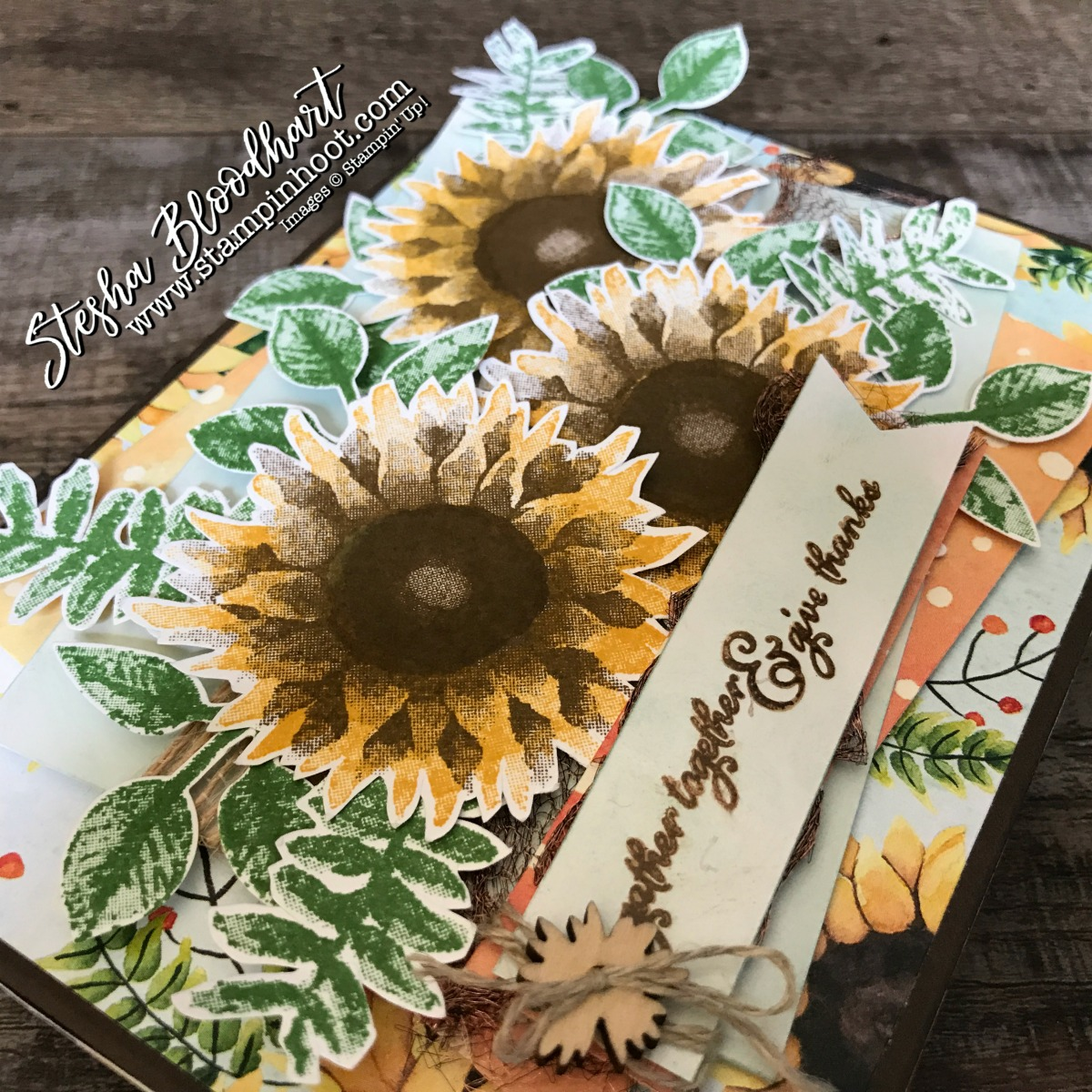 Painted Harvest Bundle by Stampin' Up! Available September 1st, 2017 with the Holiday Catalog Release! See details and instructions on my blog! Stampin' Hoot! Stesha Bloodhart #paintedharvest #giftbox #papercrafts #greetingcards #cardmaking #3dthursday #fall #sunflowers #thankyou