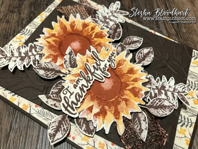 Painted Harvest Bundle by Stampin' Up! Sneak Peek of Thank You Cards designs by Stesha Bloodhart, Stampin' Hoot! #paintedharvest #thankyoucards #handmadecards #cardmaking #stampinup #falldecor #sunflowers #stampinhoot #demonstrator