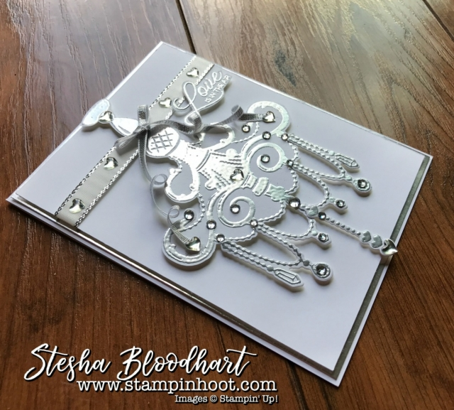 Sneak Peek Season to Sparkle by Stampin' Up! Available September 1, 2017 Wedding Card, See Details at Stampin' Hoot! by Stesha Bloodhart #GDP099 #stampinup #sneakpeek #holiday2017 #weddingcard