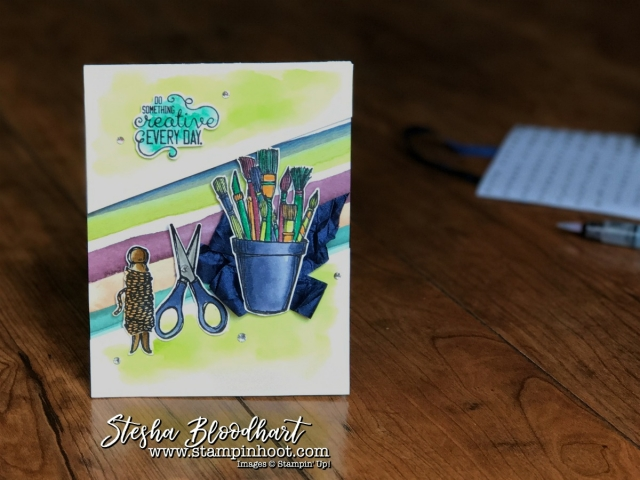 Crafting Forever Stamp Set by Stampin' Up! Do Something Creative Everyday Card See Details on my blog. Stampin' Hoot! #craftingforever #stampinup #handmadecard #cardmaking #stamping #watercolor #demonstrator #steshabloodhart #stampinhoot