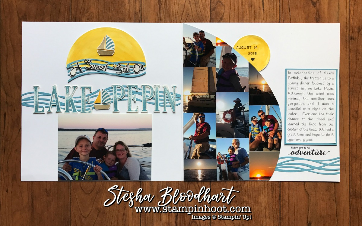 A Swirly Bird Sail Scrapbook Page made with Stampin' Up! Products. See details on my blog. Stesha Bloodhart, Stampin' Hoot! #scrapbooklayout #scrapbooking #scrapbookpages #stampinup #stampinhoot #adventure #sailing #lifeonthewater #lakepepin #wisconsinlife