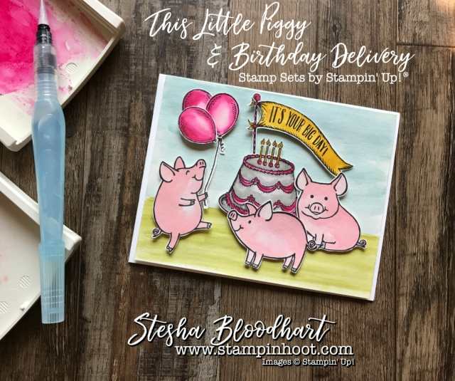 This Little Piggy Stamp Set by Stampin' Up! is having a Piggy Party, Created by Stampin' Hoot! Stesha Bloodhart #stampinup #papercrafts #cardmaking #handmadecards #stamping #thislittlepiggy #birthdaydelivery #birthdaycard #watercolor