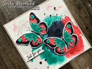 Watercolor Wings Stamp Set and Bold Butterfly Framelits Dies by Stampin' Up! #gdp101 Color Challenge, see details and daily inspiration at Stampin' Hoot! Stesha Bloodhart #stampinup #watercolorwings #watercolor #globaldesignproject #butterflies #cardmaking #papercrafts #stamping