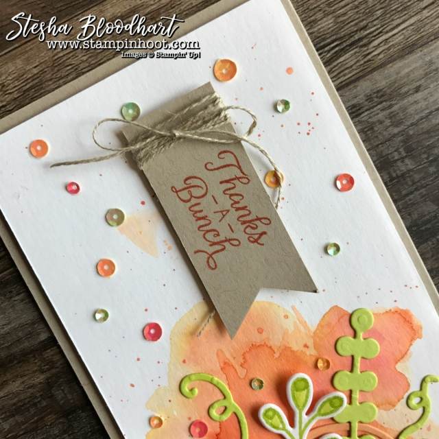 Pick A Pumpkin Bundle by Stampin' Up! Played Perfectly with Global Design Project 105 Color Challange Peekaboo Peach, Tangerine Tango and Lemon Lime Twist #GDP105 #pickapumpkin #stampinup #thankyoucard #cardmaking #pumpkincard