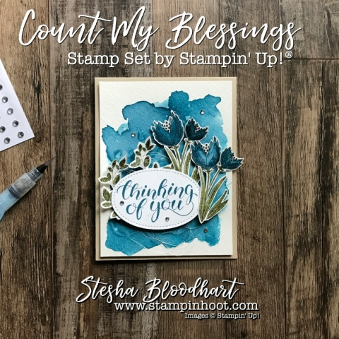 Count My Blessings Stamp Set by Stampin' Up! from the all new 2017 Holiday Catalog! Beautiful fonts and watercolor images. See details at Stampin' Hoot! Stesha Bloodhart #2017holidaycatalog #stampinup #countmyblessing #thinkingofyoucard #handmadecard #cardmaking #papercrafts #watercolor