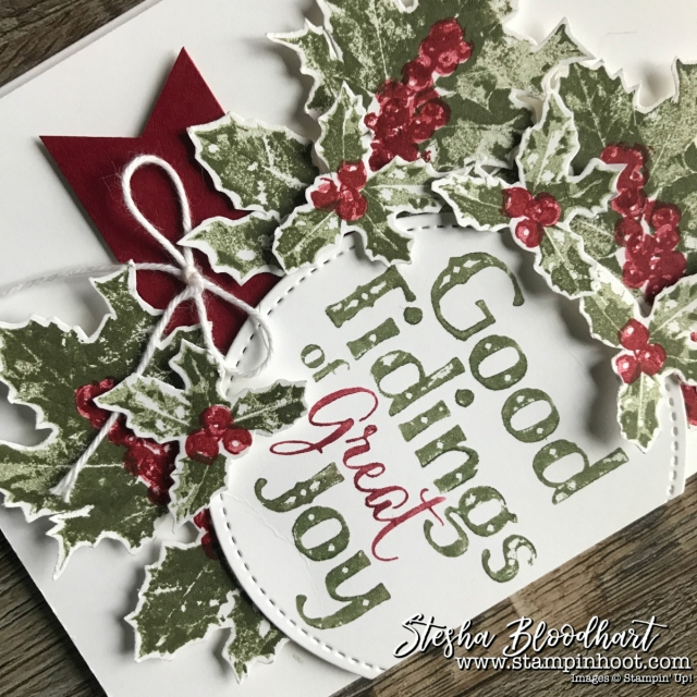 Good Tidings Photopolymer Two-Step Stamp Set from Stampin' Up! 2017 Holiday Catalog for Global Design Project 106. Details at Stampin' Hoot! Stesha Bloodhart #GDP106 #christmascard #goodtidings #stampinup #cardmaking #papercrafts #stamping #handmade
