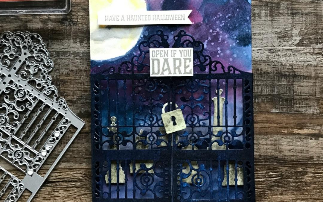 A Spooky and Fun Graveyard Gate Halloween Card