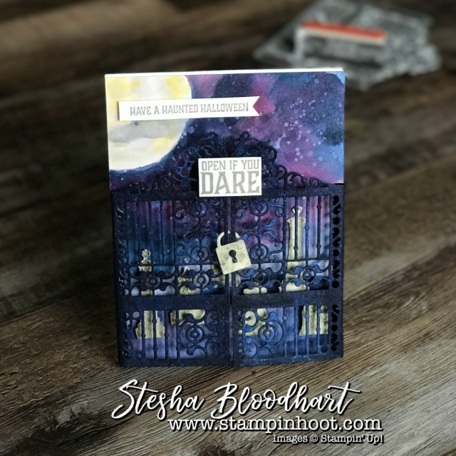 Graveyard Gate Bundle from Stampin' Up! Detailed Gate Thinlits Dies and Graveyard Gate Stamp Set Make for a Spooky and Fun Halloween Card. Details at Stampin' Hoot! #stampinup #halloweencard #graveyardgate #detailedgatedies #stampinup #cardmaking #papercrafts #stamping #demonstrator