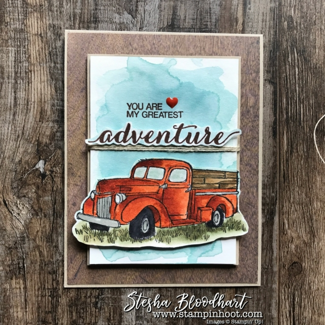 Country Livin' Adventure for Global Design Project 103 Theme: For Him on the Blog - Stampin' Hoot! Stesha Bloodhart #GDP103 #stampinup #countrylivin #forhim #trucks #adventure #cardmaking #masculine #papercrafts