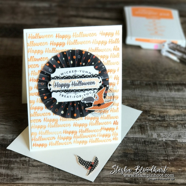 Spooky Cat Photopolymer Stamp Set and Spooky Night Designer Series Paper by Stampin' Up! for Global Design Project 104 by Stesha Bloodhart, Stampin' Hoot! #spookycat #spookyfun #gdp104 #stampinup #halloween #cardmaking #handmadecards #papercrafts #halloweencards