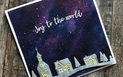 Hearts Come Home Bundle by Stampin' Up! Is Perfectly Paired with a Watercolor Galaxy Background. Details at Stampin' Hoot! Stesha Bloodhart, Demonstrator of Stampin' Up! Products #watercolorgalaxy #stampinup #heartscomehome #joytotheworld #papercrafts #cardmaking #stamping #heatembossing